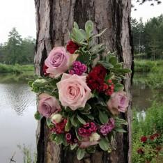 Floral Wedding Decoration on Tree at Brook Farm Cuffley
