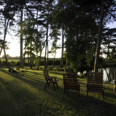 External Wedding Seating by Lake at Brook Farm Cuffley
