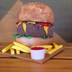 Burger Wedding Cake at Brook Farm Cuffley