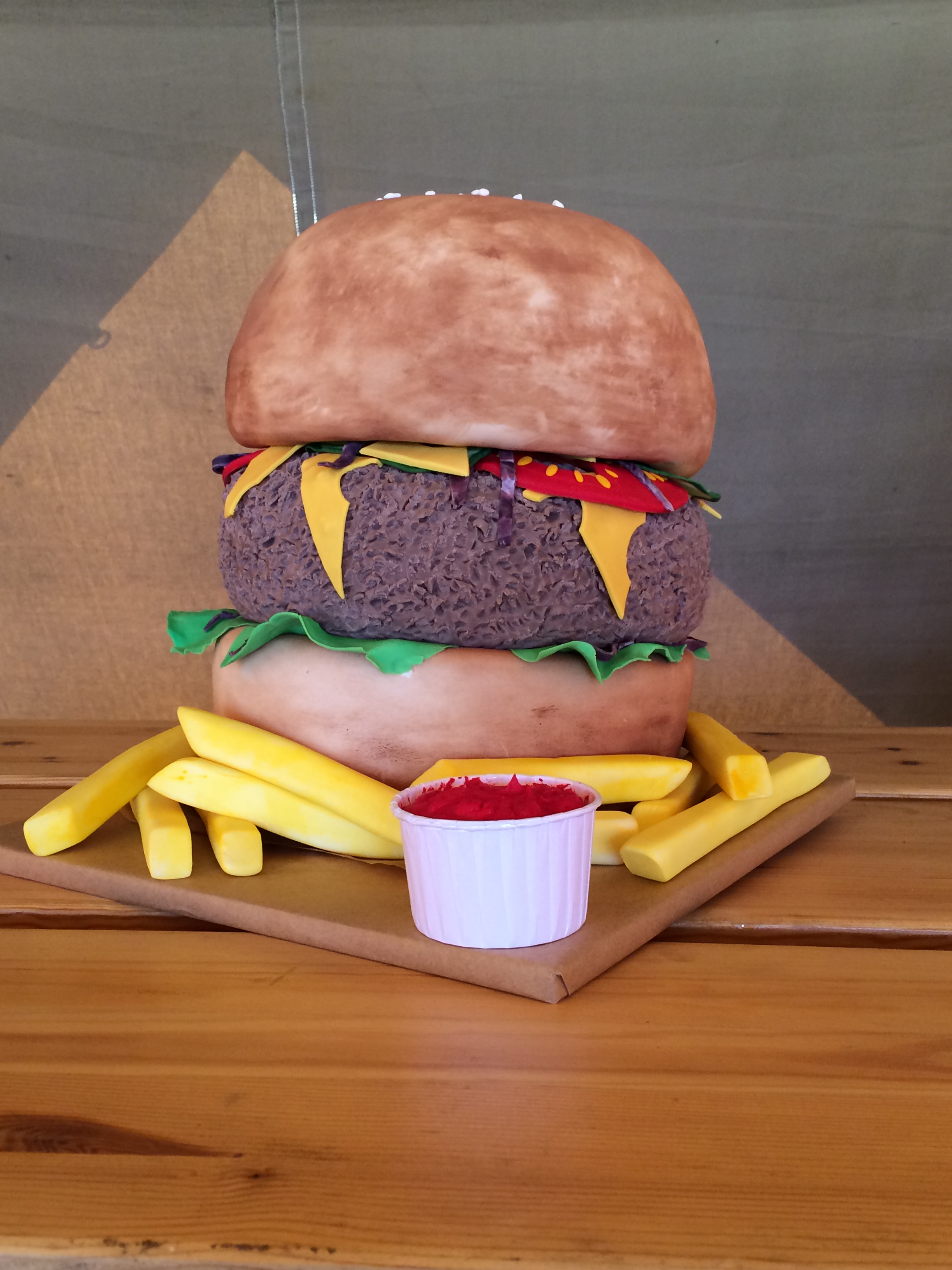 Burger Wedding Cake at Brook Farm Cuffley