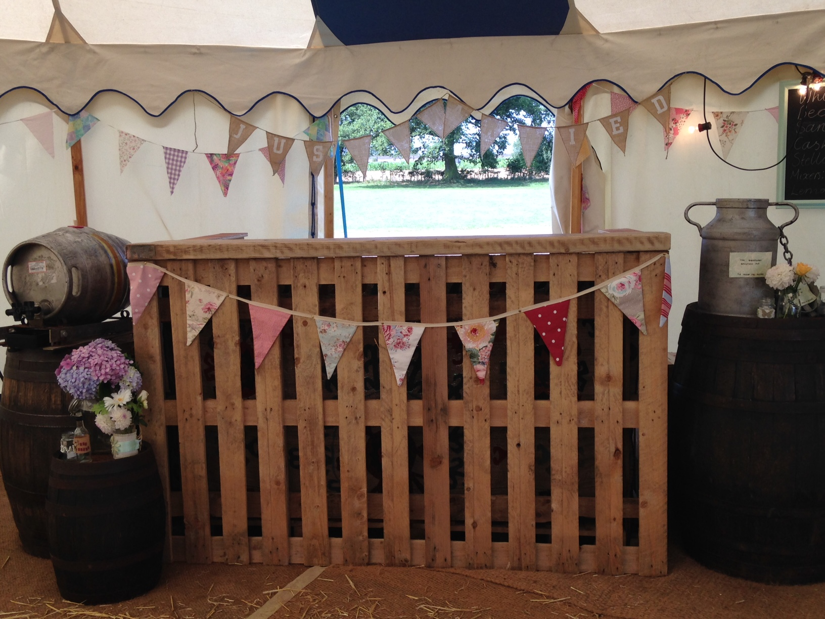 Pallet Bar made by Groom - Brook Farm Wedding