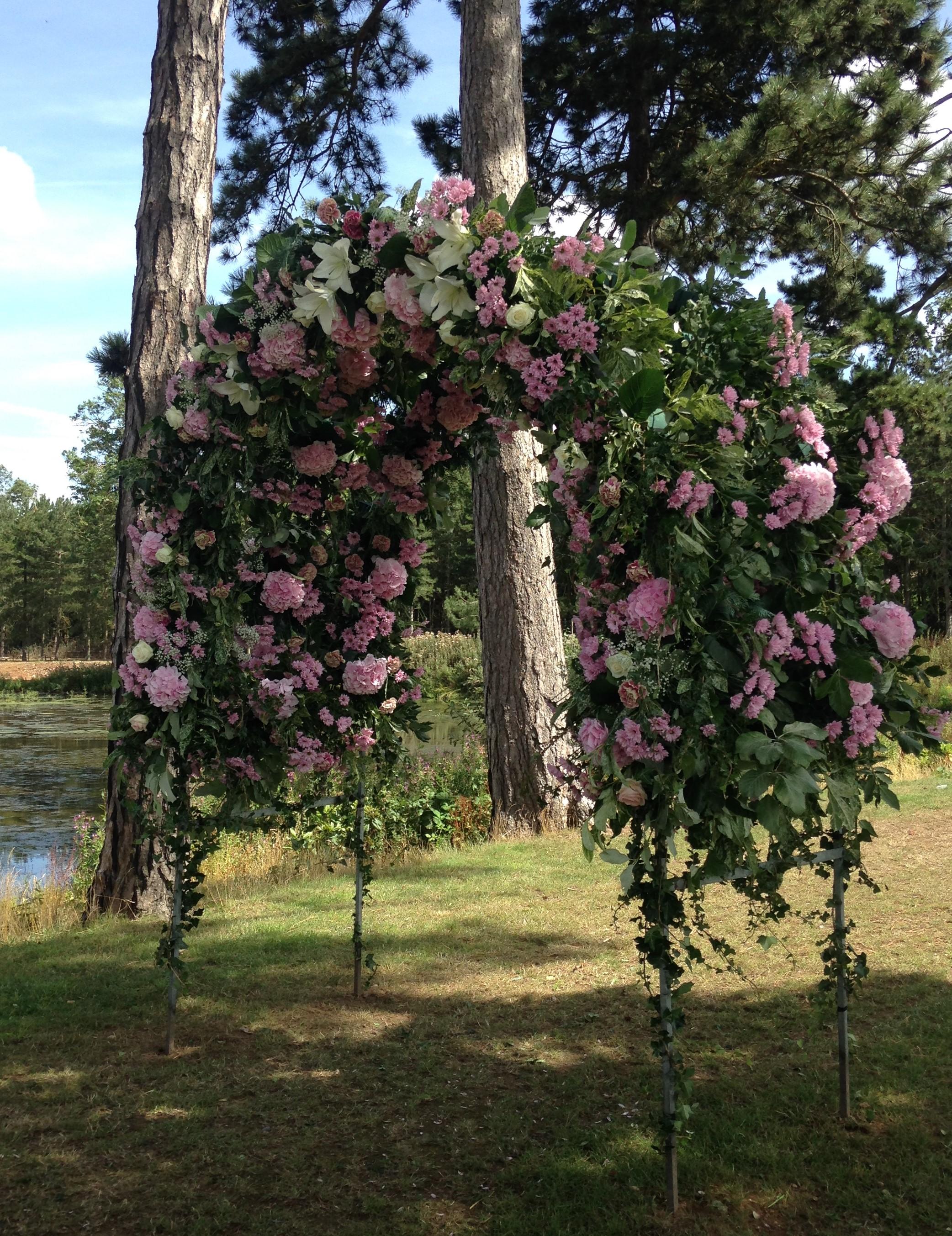 Flower Arch - Wedding at Brook Farm Cuffley